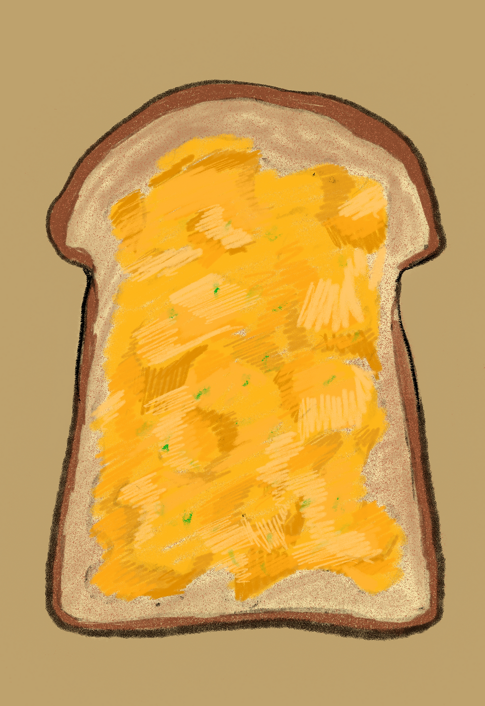 an illustration of a scrambled egg on toast