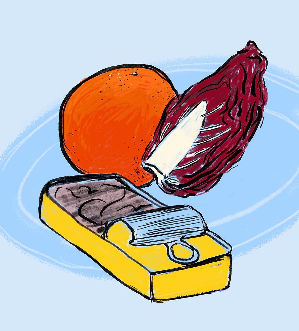 an illustration of radicchio, tinned fish and blood orange