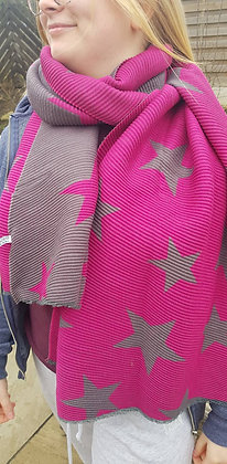 Supersoft cerise pink and grey star scarf, which is reversable