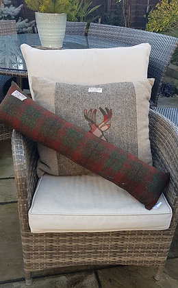 Handmadedraught excluder made from burgundy and green checkHarris tweed