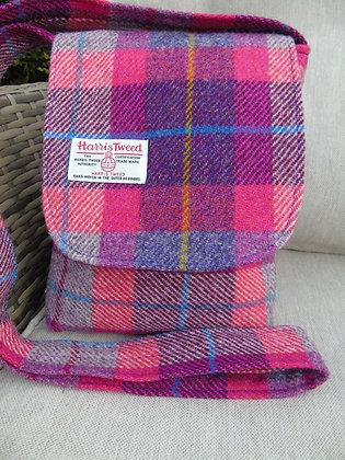 Handmade messenger bag made from cerise pink and purpleHarris Tweed