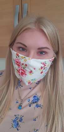 Floral face covering with elasticated ears