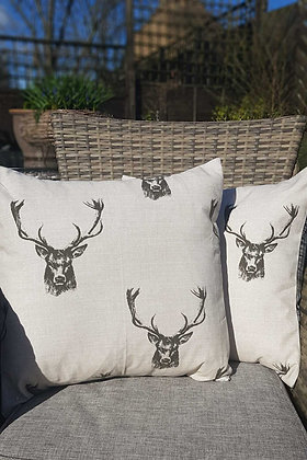 Handmade stag cushion in cream and charcole.