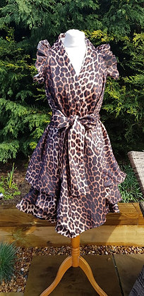 A limited edition, leopard-print ruffled sleeved wrap dress
