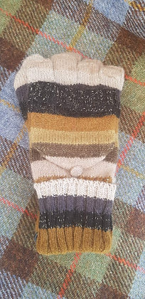 Knitted wool-blend mitten gloves, bold striped olives and browns