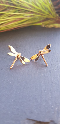 925 sterling dragonfly earringswith copper dipped bodies