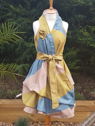A one-off handmade wrap dress made from mustard