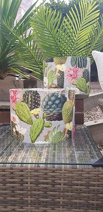 Handmade busy cactus lampshade. 30 cm drum