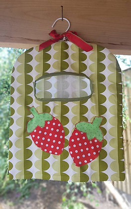 Handmade peg bag with two appliqued strawberries
