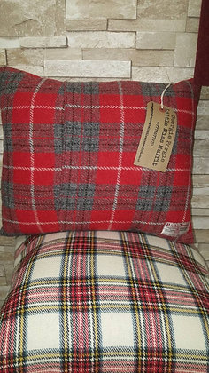 Red and grey plaidcushion made from 100% Harris tweed