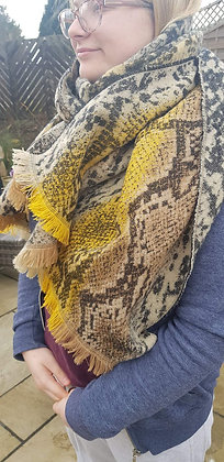 Supersoft mustard and brown snake print scarf