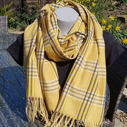 Supersoft mustard and blue tartan plaid check scarf