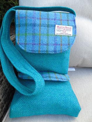 One-off handmade small messenger bag made from aqua and blue Harris Tweed