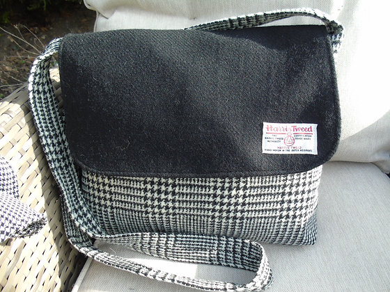 Handmade large messenger bag made from black and white check Harris Tweed