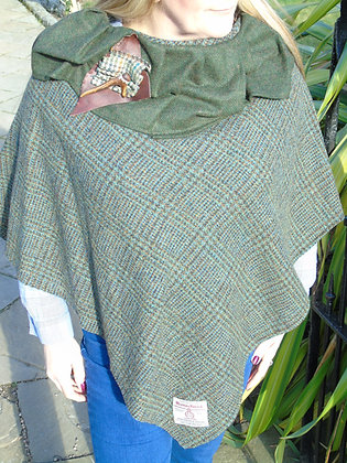 One-off handmade poncho made from green and brown check Harris Tweed