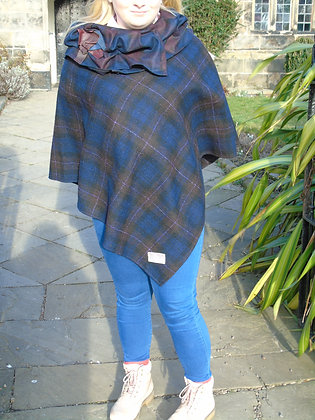 One-off handmade poncho made from brown and blue check Harris Tweed
