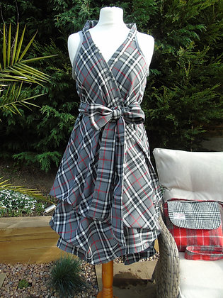 Handmade grey and black check tartan wrap dress