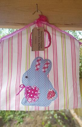 Handmade peg bag wothappliquedrabbit