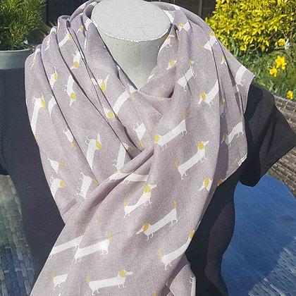 Cream and mustard daschund dogs on agrey lightweight fashion scarf