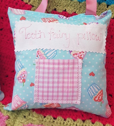 Handmade cupcakes tooth fairy pillow with a mini front pocket