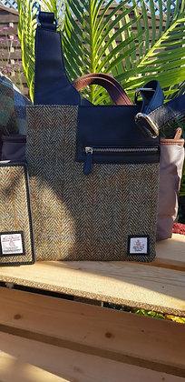 Maccessori medium cross body bag made from traditional Harris Tweed wool