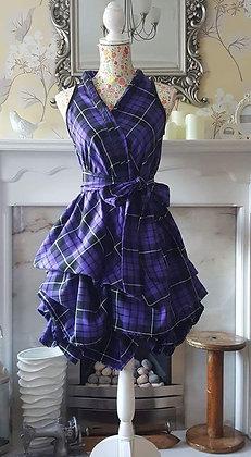 Handmade purple princess tartan dress, wrapped and ruched