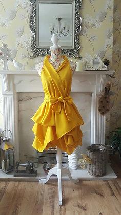 Handmade, bright canary yellow wrap dress