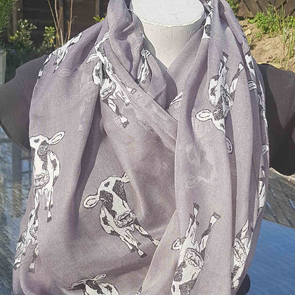 """Black and white cows on a greylightweight fashion scarf. Approximately 74"""" x 36"""