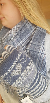 Supersoft blues and greys check scarf.