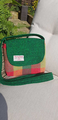 One-off handmade cross body bag, made from Harris Tweed wool