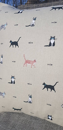 Handmade Cat cushions made from Sophie Allport canvas cotton