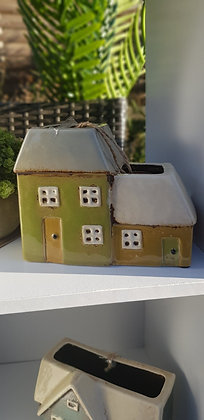 Green and mustard cottages plant pot
