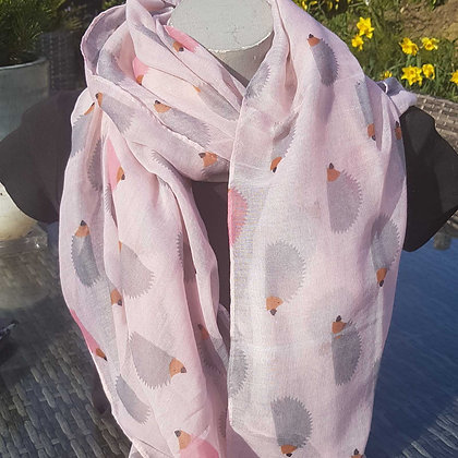 Grey and pink hedgehogs on a light pink scarf lightweight fashion scarf.