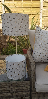 Handmade 20cm drum lampshade made from, bumblebee Voyage fabric