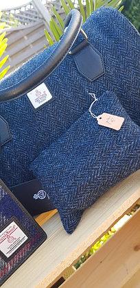 Handmade case made from navy and black herringboneHarris Tweed