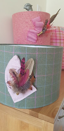 One-off hand made dull green and pink check tweed lampshade