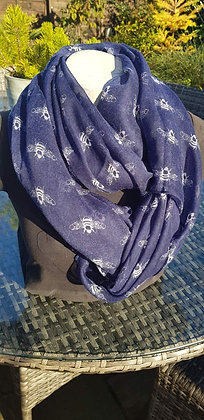 White bees on a blue lightweight fashion scarf