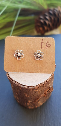 925 sterling silver flower studs earrings with sterling silver butterfly backs