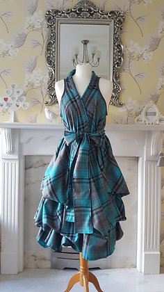 Aqua and slate grey tartan dress
