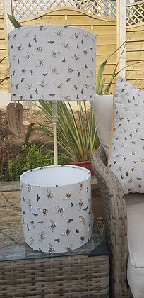 Handmade 30cm drum lampshade made from, bumblebee Voyage fabric