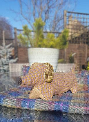 Stuffed plush dachshund. Beautiful mustard and grey dogtooth Harris Tweed