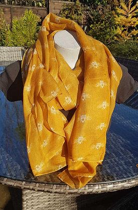 White bees on mustard lightweight fashion scarf