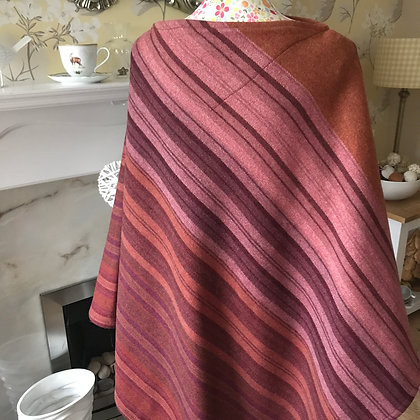 One-off, handmade 100% wool poncho, made from double lambswool