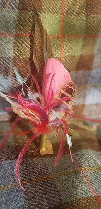 One-off feather brooch with natural and pink feathers