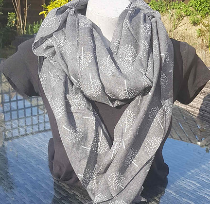 Cream mulberry-shaped trees on a grey lightweight fashion scarf