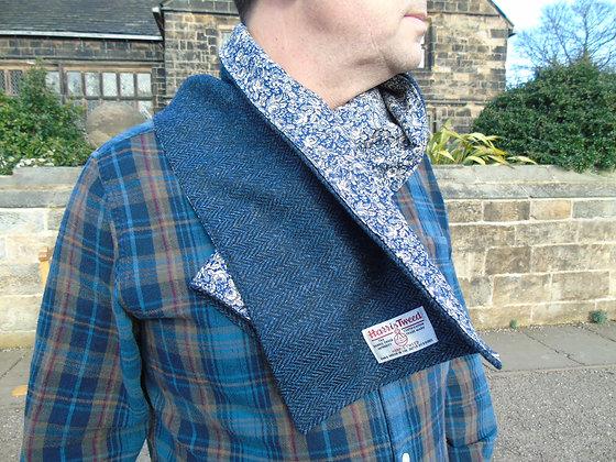 Handmade scarf made from blue herringbone Harris Tweed