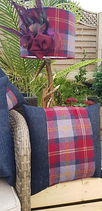 Handmade navy blue Harris Tweed cushion