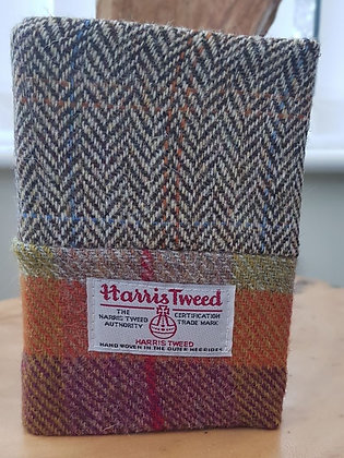 Handmade book cover and book. A6 Size. Reusable cover made from Harris Tweed.