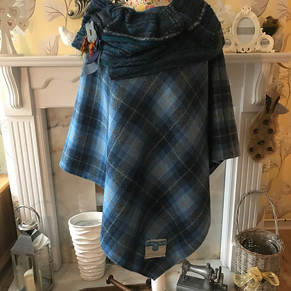 One-off, handmade 100% wool poncho, made from Harris Tweed wool
