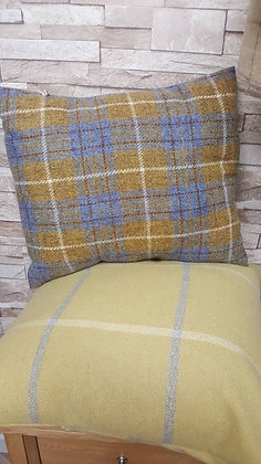Mustard and sky blue cushion made from 100% Harris tweed
